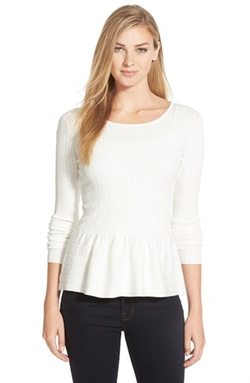Cece By Cynthia Steffe - Pointelle Ribbed Peplum Sweater