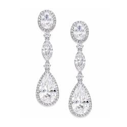 Danori  - Eliot Silver-Tone Oval Crystal Drop Earrings