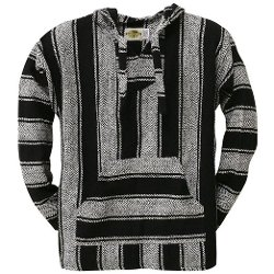 Old Glory  - Black Stripe Woven Baja Hoodie