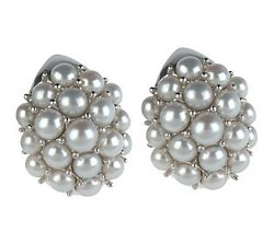 Honora  - Cultured Pearl Sterling Button Cluster Earrings