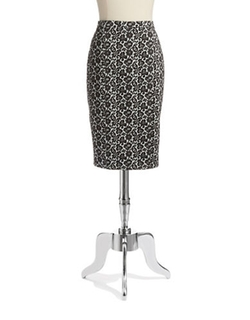 Pink Tartan  - Lace Print Pencil Skirt