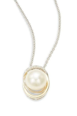 Mastoloni  - Cultured Pearl & Diamond Two-Tone Pendant Necklace
