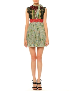 Valentino  - Sleeveless Lace & Garden-Print Plisse Dress
