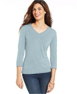 Karen Scott  - Three-Quarter-Sleeve V-Neck Sweater
