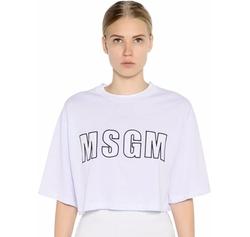 MSGM - Cropped Logo Print Cotton Jersey T-Shirt
