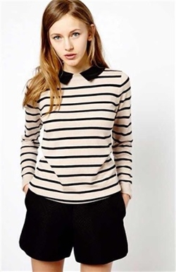 Outlinner - Detachable Peter Pan Collar Stripe Sweater