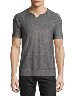 John Varvatos Star USA  - Raglan-Sleeve Split-Neck Tee