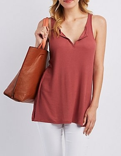Charlotte Russe - Ribbed Split Neck Tank