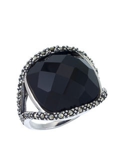 Lord & Taylor  - Sterling Silver And Onyx Dome Ring