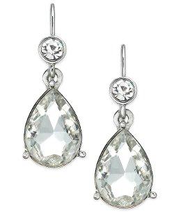 Lauren Ralph Lauren - Silver-Tone Crystal Teardrop Earrings