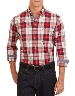 Nautica  - Slim-Fit Embroidered Plaid Shirt