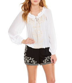 Xoxo - Tie-Neck Embroidered Peasant Top