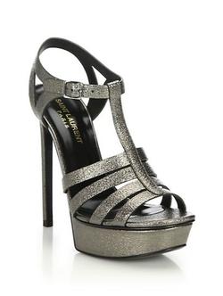 Saint Laurent  - Bianca Leather Platform Sandals