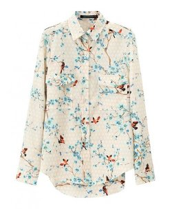 Chicnova - Flower and Bird Printed Blouse