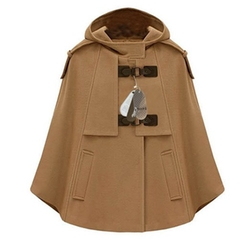 Zicac - Winter Batwing Cape Wool Poncho Coat