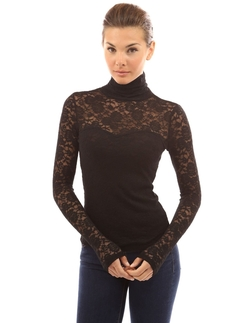 Patty Boutik - Turtleneck Sheer Lace Blouse