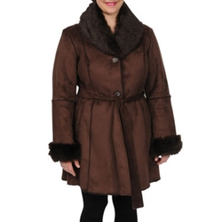 Excelled - Faux-Shearling Belted Coat