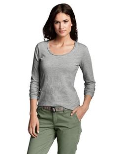 Eddie Bauer - Slub Long-Sleeve Scoop-Neck T-Shirt