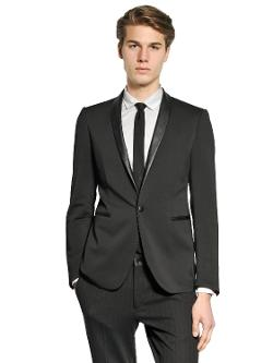 The Suits  - Leather Lapels On Stretch Viscose Jacket