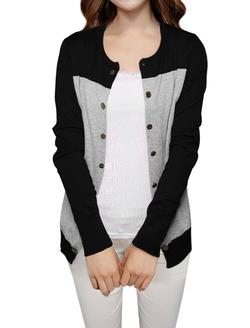 Allegra K - Women Color Block Slim Fit Knit Cardigan