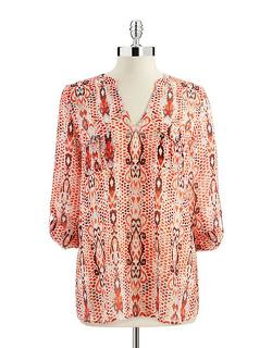 Two By Vince Camuto - Snakeskin Print Blouse