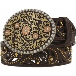 Justin Boots - Ladies Dark Brown Golden Garden Belt
