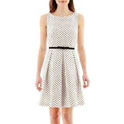 Danny & Nicole - Sleeveless Pleated-Skirt Polka Dot Dress