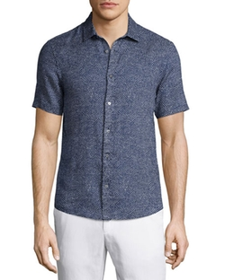 Michael Kors  - Fan-Print Slim Short-Sleeve Shirt