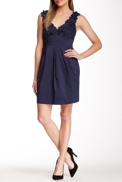 BCBGMAXAZRIA - Dobby Pleat Neck Dress