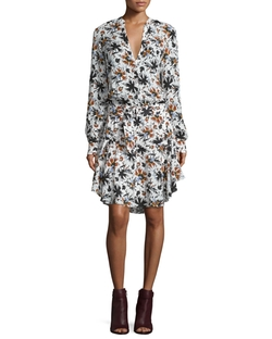 A.L.C. - Way Long-Sleeve Floral Silk Dress