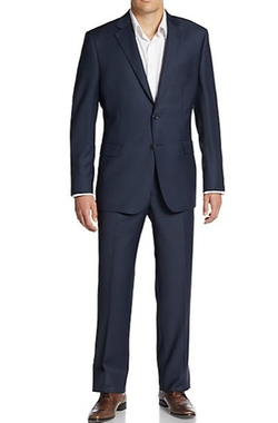 Saks Fifth Avenue Made In Italy  - Regular-Fit Tonal Plaid Wool Suit