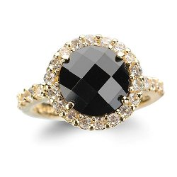 Cheline - Round Black Ring