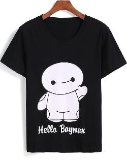 Romwe - Round Neck Baymax Print T-Shirt