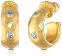 "GURHAN  - ""Constellation"" 3 White Diamond High Karat Gold Hoop Post Earrings"