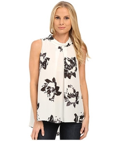 Vince Camuto  - Sleeveless Invert Pleat Mock Neck Floral Blouse