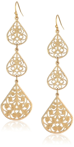 1928 Jewelry - Filigree Linear Drop Earrings
