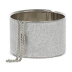 River Island - Silver Tone Glitter Chain Detail Bangle