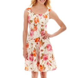 London Style Collection - Sleeveless Floral Print Sateen Dress