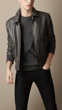 Burberry - GRAINY LEATHER BLOUSON