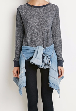 Forever 21 - Zippered-Back Marled Pullover