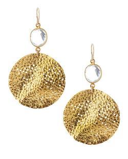 Devon Leigh  - Quartz & 18k Gold Plate Circle Earrings