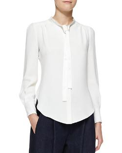 Adam Lippes   - Long-Sleeve Tie-Neck Blouse