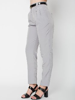 American Apparel - Micro-Poly High-Waist Pleated Pants
