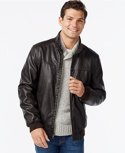 Tommy Hilfiger - Faux-Leather Bomber Jacket
