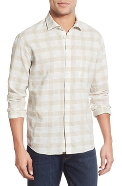 Billy Reid  - Standard Fit Plaid Linen Sport Shirt
