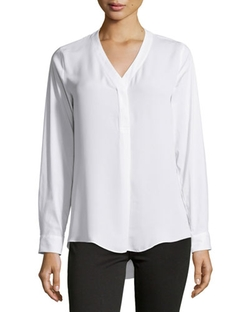 Laundry By Shelli Segal - Contrast-Front V-Neck Blouse