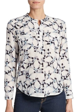 Rebecca Taylor  - Geo-Print Silk Double Pocket Blouse