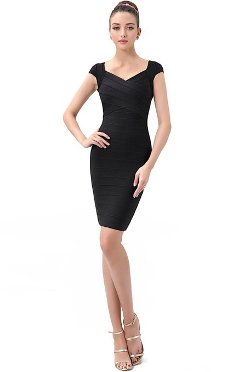Phistic - Cap Sleeve Crisscross Sheath Bandage Dress