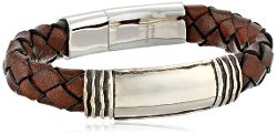 Zina Sterling Silver  - Waves Brown Leather Identification Bracelet