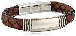 Zina Sterling Silver  - Waves Brown Leather Identification Bracelet